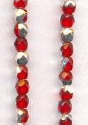 3mm Siam Ruby/Silver Faceted Glass Beads