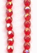 3mm Ruby Luster Faceted Glass Beads