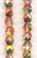 6mm Jonquil/Salmon/Silver Glass Beads