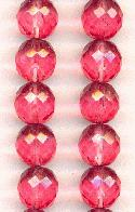 12mm Rose Pink Facted Glass Beads