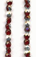 3mm Garnet/Silver Faceted Glass Beads