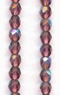 4mm Amethyst AB Faceted Glass Beads
