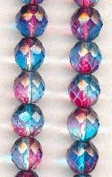 10mm Clear/Fuchsia/Turquoise Glass Beads