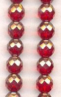10mm Ruby Red/Luster Glass Beads