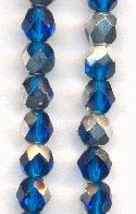 6mm Capri Blue/Silver Faceted Glass Bead