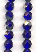 6mm Sapphire/Silver Faceted Glass Bead