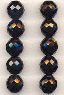 14mm Jet Black Faceted Glass Beads