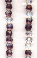 4mm Clear/Amethyst Faceted Glass Beads