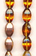12x8mm Topaz/Copper Oval Glass Beads