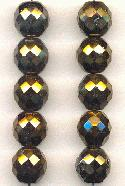 12mm Vitrail/Hematite Faceted Glass Bead