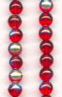 5.5mm Pressed Glass Siam Ruby/AB Beads