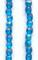 3mm Blue Zircon AB Faceted Glass Beads