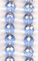 10mm Light Sapphire Faceted Glass Beads