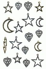 Mixed Lot Moon/Star/Heart Charms