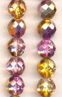 12mm Metallic Topaz/Amethyst Glass Beads