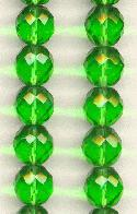12mm Dark Lime Faceted Glass Beads