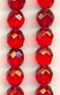 10mm Siam Ruby Faceted Glass Beads