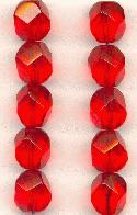 12mm Lt Siam Ruby Fancy Glass Beads