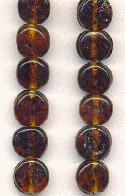 10mm Smoked Topaz Picasso Glass Beads