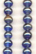 9mm Sapphire/Mirror Glass Beads