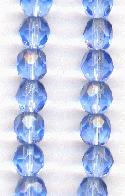 6mm Light Sapphire Faceted Glass Beads