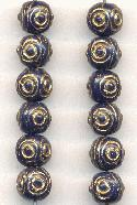 7mm Navy and Gold Glass Beads