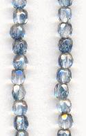 3mm Clear/Sapphire Luster Glass Beads