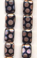 12x8mm Black/Copper Rectangle Beads