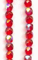 4mm Siam Ruby AB Faceted Glass Bead