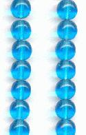 6mm Dark Aqua Round Glass Beads