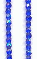 3mm Sapphire AB Faceted Glass Beads