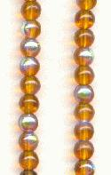 4mm Smoked Topaz AB Round Glass Beads