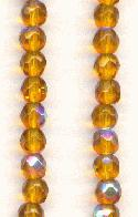 4mm Topaz AB Faceted Glass Beads