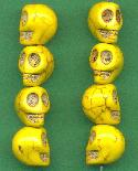 13x10mm Yellow Magnesite Skull Beads