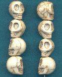 13x10mm White Magnesite Skull Beads