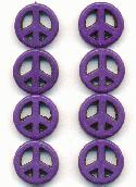 15mm Purple Magnesite Peace Beads