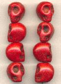 18x14mm Dark Red Magnesite Skull Beads