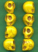 18x14mm Yellow Magnesite Skull Beads