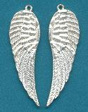 58x17mm Silver Plated Wing Pendants
