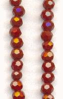 3mm Maroon Luster Faceted Glass Beads