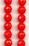 10mm Faceted Red Glass Beads