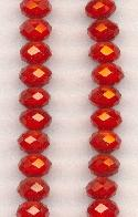 6x4mm Red Luster Faceted Rondelles