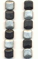 12x11mm Black/Silver Glass Beads