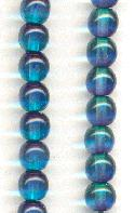 5mm Two Tone Teal/Montana Glass Beads