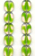 13x12mm Green/Rose Oval Window Beads
