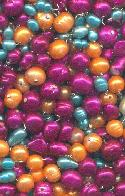 Mixed Glass Beads Purple/Orange/Turq