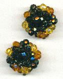 27mm Topaz/Black Beaded Ear Clips
