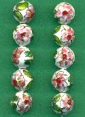 12mm White Cloisonne' Beads