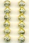 10mm Gold Metalized Plastic Rose Bead