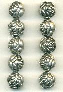 15mm Antique Silver Plastic Flower Beads